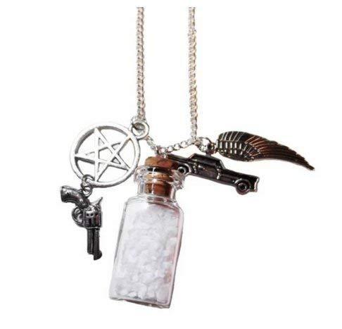 Supernatural TV Serie Salz Flasche Schutz Charms Halskette auf 61cm Kette