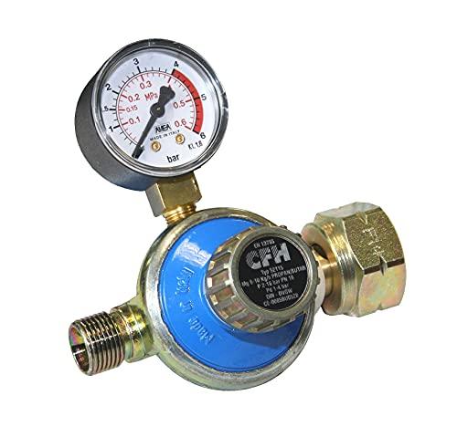 CFH 52115 Propanregler Manometer Propandruckregler 1-4 Bar/DR 115, Blau/Gold