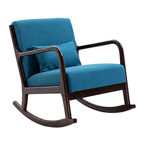 Chairs Rocking Recliner Armchair Rocker Relax Lounge Relaxing Rubber Wood Frame 100% Polyester With Comfortable Padded Seat ZX Furniture (Color : Blue, Size : Walnut frame)