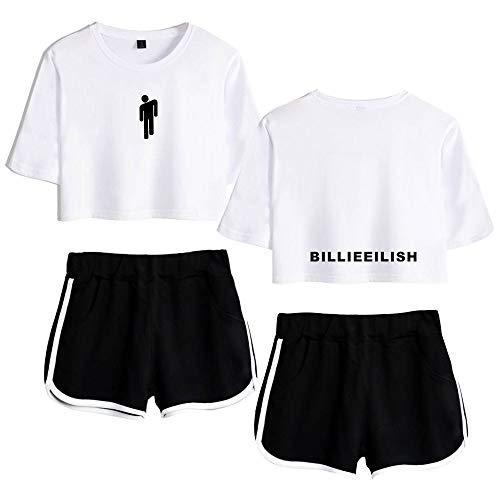 AAZZYUN Billie Eilish niñas Suelta 3D de impresión Superior y Pantalones Cortos de la Camiseta de la Manga 2 Piezas chándal Ropa con Estilo de Yoga (Color : White B, Size : XS)