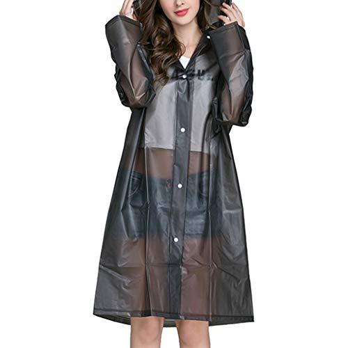 FRAUIT Regenjacke für Damen im Freien transparenter wasserdichter winddichter Mantel Outwear Schwarz Regenmantel Kapuzenjacke Mode Elegant Wunderschön Streetwear