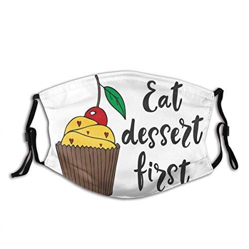Anti-Staub-Gesicht schützen winddichten Schild mit Filter Cartoonish Design Cherry Top Cupcake mit winzigen Herzen und Kalligraphie Staubfilter Mund warm
