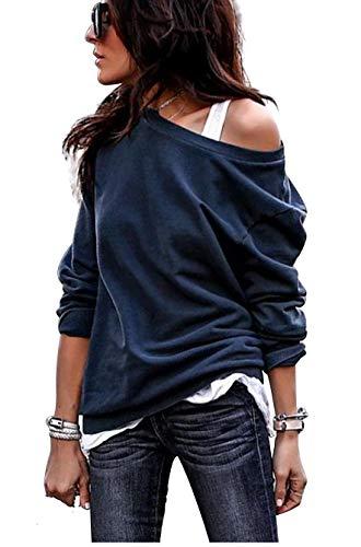 Itresty Damski sweter na jedno ramię z długim rękawem asymetryczna bluzka sweter