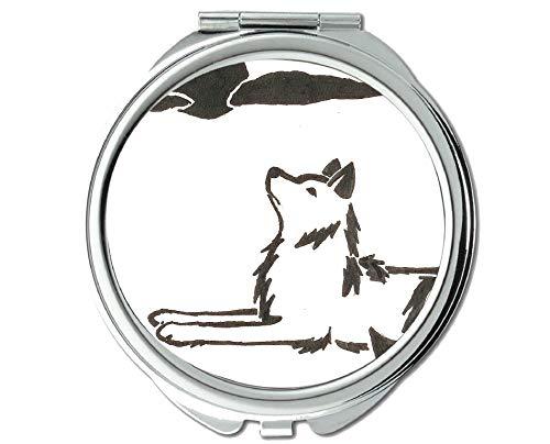 Yanteng Spiegel, Kleiner Spiegel, Taschenspiegel mit Tierwolfohren, 1 X 2X Vergrößerung.