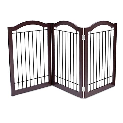Internet's Best Wire Dog Gate with Arched Top - 3 Panel - 30 Inch Tall Pet Puppy Safety Fence - Fully Assembled - Durable MDF - Folding Z Shape Indoor Doorway Hall Stairs Free Standing - Espresso