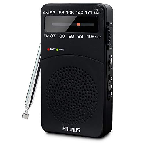 PRUNUS J-166 Portátil Transistor Radio de Bolsillo FM/Am, Radio Portatil Pequeña con Clip Trasero, Sintonizador con indicador.Funciona con Pilas AA.