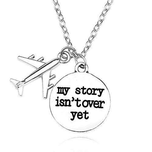 CJMDEH Halskette,Meine Geschichte Flugzeug, Mode Papierflieger Halskette Snatch One-Way Flugzeuge Anhänger Niedliche Halskette Männer Und Frauen Flugzeuge Schmuck Ohrringe Accessoires