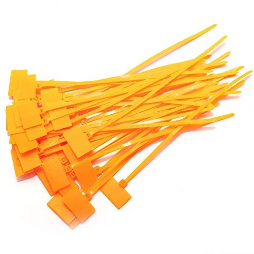Kabelbinder 165mm beschriftbar mit Beschriftungsfeld 16,5cm verschiedene Farben 100 Stück (Orange)