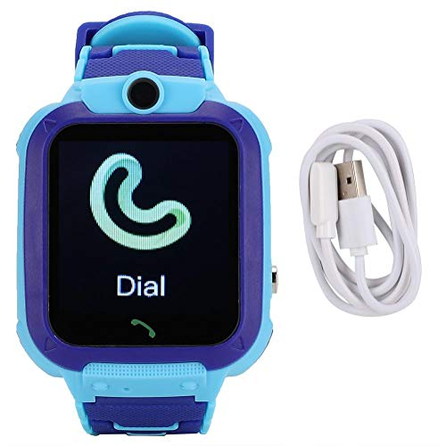 Starbun Reloj Inteligente a Prueba de Agua - Reloj Inteligente a Prueba de Agua Reloj de Pulsera Digital multifunción para niños para IOS/AndroidQ12(Azul)