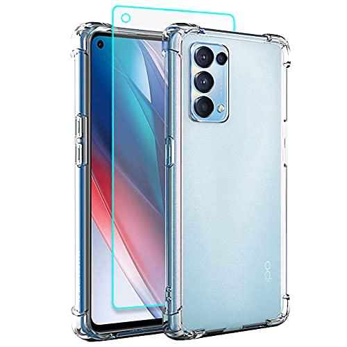 Oppo Find X3 Lite Hülle, Oppo Find X3 Lite 5G Hülle mit HD Schutzfolie, Dünne Transparent Stoßfest Anti-Kratzer Silikon Crystal Handyhülle für Motorola Oppo Find X3 Lite (Transparent)