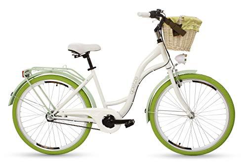 Goetze Style Vintage Retro Citybike Damenfahrrad Hollandrad, 3 Gang Schaltung, Tiefeinsteiger, Rücktrittbremse, 26 Zoll Alu Räder, Korb mit Polsterung Gratis!