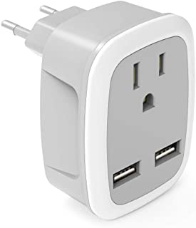 Travel Plug Adapter,International Power Plug with 2 USB, Outlet Adaptor for US to Most of Europe EU Spain Iceland Italy (Type C)