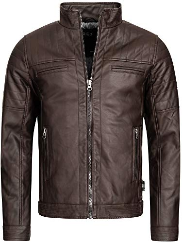 Indicode Herren Brook Lederjacke aus Leder-Imitat m. Stehkragen | Kunstleder Jacke Bequeme Herrenjacke f. Biker Übergangsjacke Men Faux Leather Jacket Coole Bikerjacke f. Männer Dk Brown L
