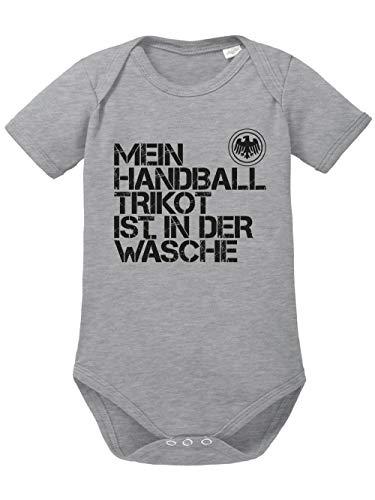 clothinx Baby-Body Bio EM 2020 Mein Handball Trikot ist in der Wäsche Sports Grey/Schwarz Größe 74-80