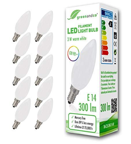 10x Lampadina a filamento LED greenandco IRC 90+ smerigliata E14 3W (equivalente 28W) 300lm 2700K (bianco caldo) 360° 230V AC Vetro, forma de vela, nessun sfarfallio, non dimmerabile