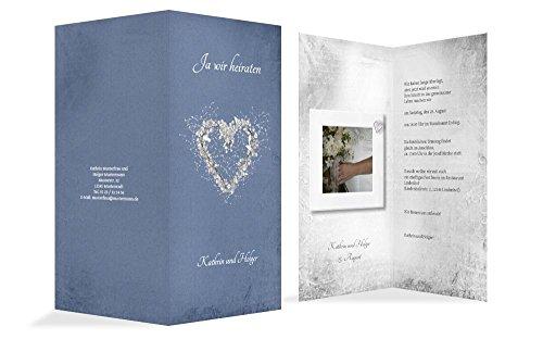 Hochzeitskarten: Hochzeit Einladungskarte glamour heart, hochwertige Einladung zur Heirat inklusive Umschläge | 15 Karten (format: 105.00x215.00mm) color: Blau