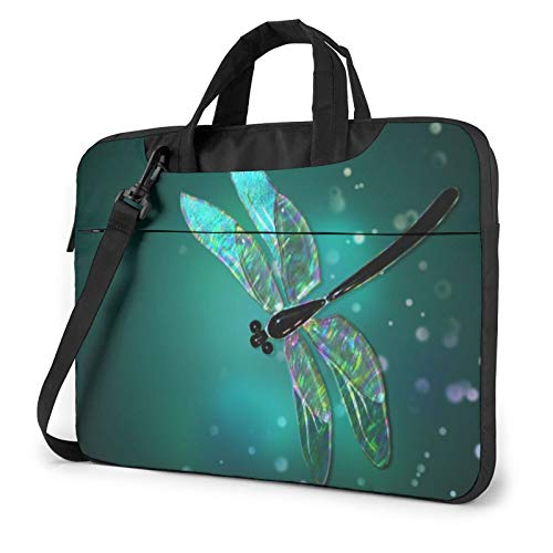 Laptop Shoulder Bag - Galaxy Animal Dragonfly Printed Shockproof Waterproof Laptop Shoulder Backpack Bag Briefcase 14 Inch