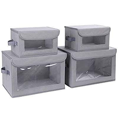 DIMJ Storage Bins with Lids, 4 Pack Fabric Storage Baskets with Handle Collapsible Organizer Closet Storage Box with Clear Window for Clothes, Toys, Books, Closet, Shelves, Kids Room, Office