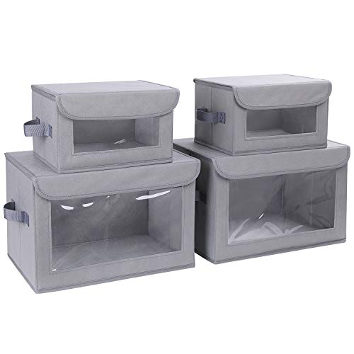 DIMJ Storage Bins with Lids, 4 Pack Fabric Storage Baskets with Handle...