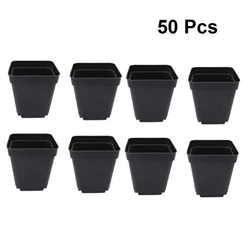 Yardwe 50 Pezzi Vaso da Fiori in plastica Quadrato per Piante Vasi iniziali di Seme Piccolo Piantine in plastica trapiantati Nero Vasi da Fiori 7.8 x 7 x 7cm