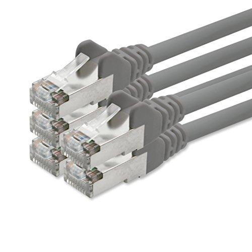 1aTTack, CAT5 SFTP, folie en gevlochten afgeschermd, netwerkkabel met 2 x RJ45-stekkers, set (5 stuks) 1m grijs