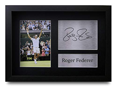 HWC Trading Roger Federer A4 Gerahmte Signiert Gedruckt Autogramme Bild Druck-Fotoanzeige Geschenk Für Tennis-Fans