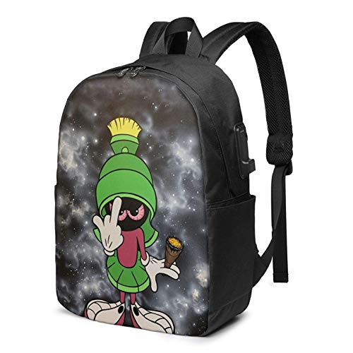 IUBBKI Men Women Packable Backpack with USB Charging Port, anti theft rain cover SchoolBag, Book Bags Daypack for Outdoor Gym Work, Cartoons Anime Mar-vin The Mar-tian