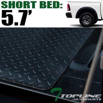 Topline Autopart Black Rubber Diamond Plate Truck Bed Floor Mat Liner For 02-18 Dodge Ram 1500 2500 3500 Rambox Cargo Management System / 19-20 1500 Classic 5.7 Feet (68.4') Short Bed