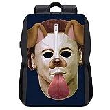 Halloween Michael Myres Mask Dog Snapchat Filter Backpack Daypack Bookbag Laptop School Bag with USB Charging Port