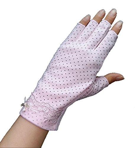 Guantes de protección para mujer, antideslizantes, protección UV, guantes transpirables, para ciclismo y equitación, de algodón rosa claro Talla única
