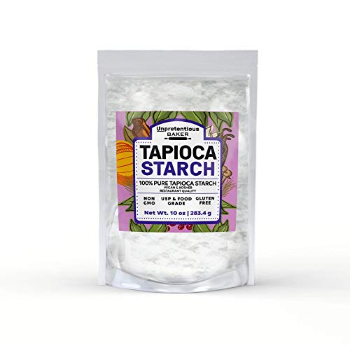 Tapioca Starch, 10 oz. by Unpretentious Baker, Also Called Tapioca Flour, Gluten Free, Vegan, Cornstarch Replacement, Thickener, Gluten Free Baking, Resealable Bag