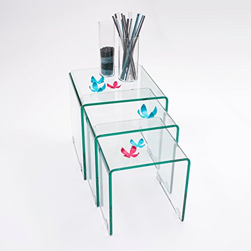 Homely - Mesitas auxiliares de Cristal Curvado Tipo Nido Murano 3