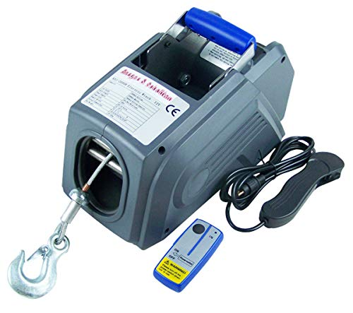 Berger & Schröter 31146 12 V Premium PKW-Seilwinde mit Funkfernbedienung, Grau, 390 x 260 x 220