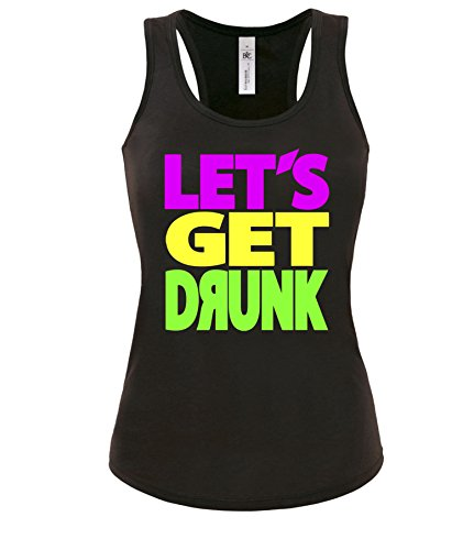 Luckja Lets get Drunk Damen Tanktop Schwarz-Bunt Grösse L