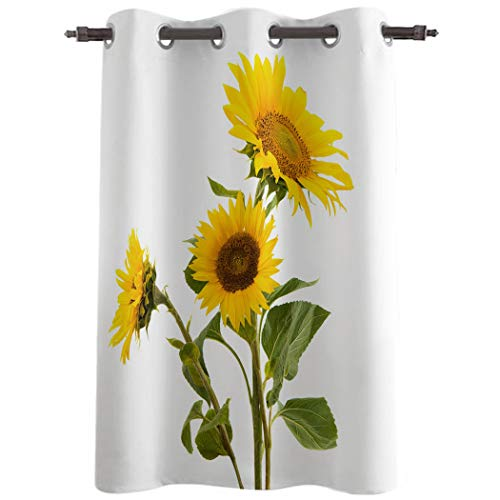 Amaze-Home Decorative Curtains Window Drapes Yellow Sunflowers on Rustic Wooden Panels Printed Printed Door Treatments (One Panel) for Kids Bedroom,Living/Dining Room, 52 Wx24 L Inch