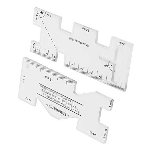 Mini regla de trabajo de parche de 2 piezas, multifuncional, el grosor es de aproximadamente 0,3 cm, regla de corte de diseño de prendas de bricolaje