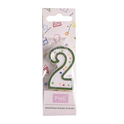 PME CA052 Candela Numero 2 Piccola, Cera, Verde, 4.3 cm