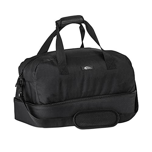 SMILODOX Bolsa de deportes Premium ideal para fitness y viajes | Bolsa de entrenamiento - Muchos compartimentos que transportan correa y correa para el hombro, Color:Negro