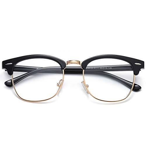 SOJOS Brille mit Blaulichtfilter Blockieren Blaue Licht Computerbrille ohne sehstärke Retro Vintage Horn Gestell Halbrahmen SJ5018 mit Schwarz Gold Rahmen/Anti-blaulicht Linse