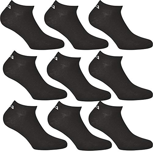 FILA 9 Paar Unisex Sneakersocken, Black, 39-42