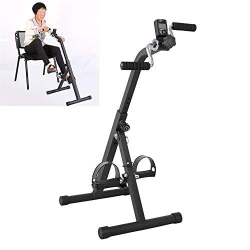 Ejercitador de pedales para bicicletas debajo del escritorio, ejercitador de pedales, vendedor ambulante médico para ejercicios de recuperación de piernas, brazos y rodillas con monitor LCD,
