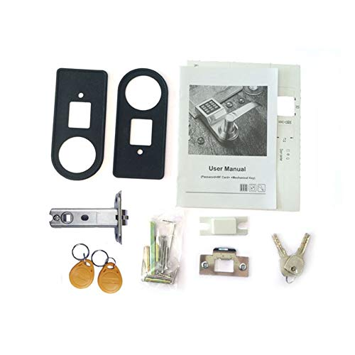 HEQIE-YONGP Home Security Door Lock, Digital Keyboard Door Lock Remote Control + Password + Card + Key Bolt Smart Electronic Lock (Color : Satin Nickel, Lock Spacing : 60mm)