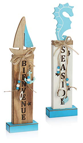 com-four® 2X Deko Aufsteller im maritimen Stil mit LED Beleuchtung - Deko-Stele zum Hinstellen - Deko-Figuren mit tollen Motiven [Auswahl variiert] (02 Stück - maritim - 42cm)