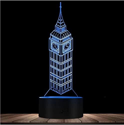 Lámpara de ilusión óptica 3D de monumentos famosos del mundo del Big Ben Londres Inglaterra Reino Unido Edificio conocido decorativo