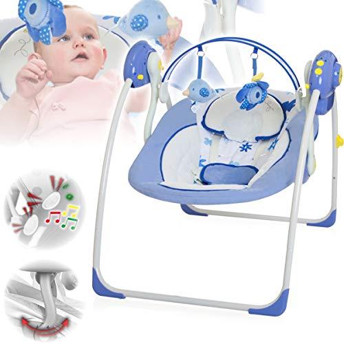 Babyschaukel (vollautomatisch 230V) mit 8 Melodien und 5 Schaukelgeschwindigkeiten (BLAU)