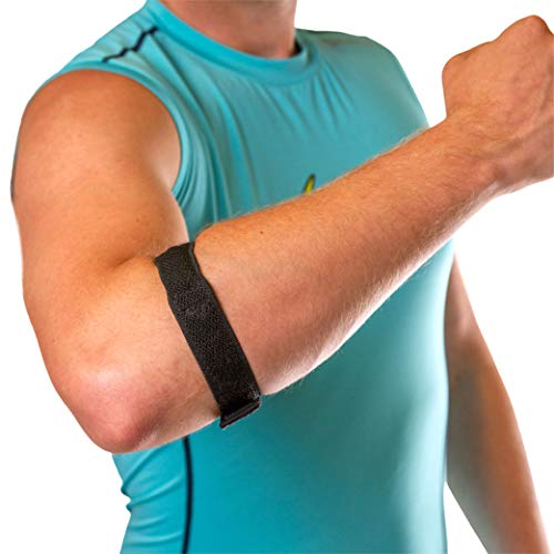 BraceAbility Epicondylitis Brace   Elbow Strap for Medial / Lateral Epicondyle Pain and Tendonitis Arm Compression Support Band for Men or Women (One Size Fits Most)