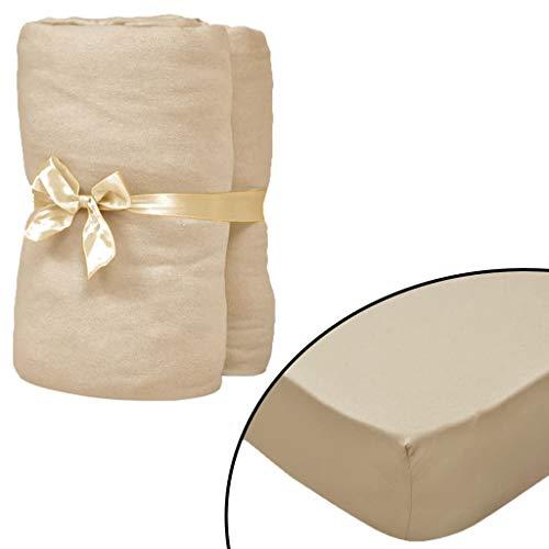 Geniet van winkelen met Hoeslaken waterbed 160x200 cm katoenen jersey stof beige 2 st
