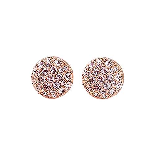 Ameesi - Pendientes para mujer, elegantes, con cristales circulares y diamantes de imitación