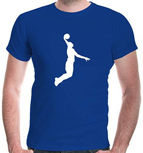 buXsbaum® Herren Unisex Kurzarm T-Shirt bedruckt Basketball Dunker | Basketballschuhe Fanshirt Trikot | XXXL royal-white Blau