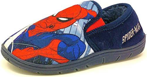 Kinder-Hausschuhe für ältere Kinder, Rot, Blau, Spiderman-Hausschuhe für Jungen, Pantoletten, Größe 36-38, Blau - navy - Größe: 30 EU